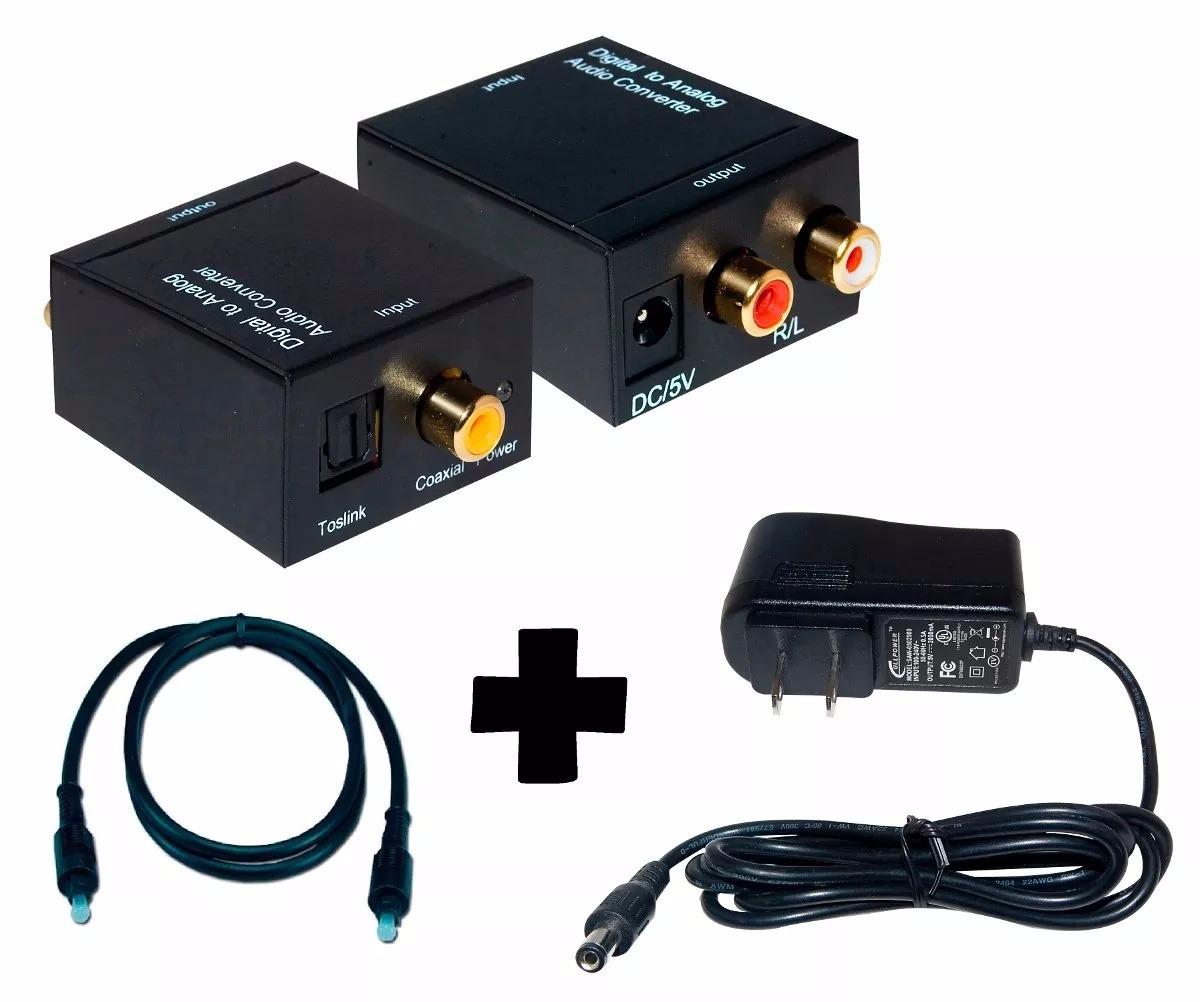 Convertidor De Audio Digital Toslink A Audio Analogo Rca Kit Cables Y Conectores